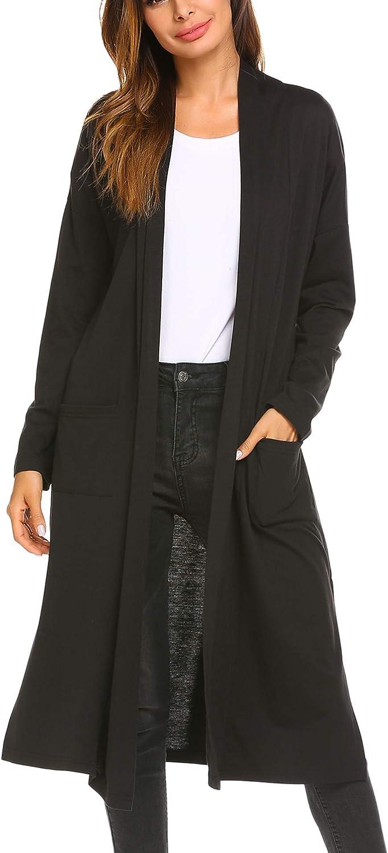 MOFAVOR Women's Open Front Drape Lightweight Duster Maxi Long Sleeve Cardigan with Pocket Black