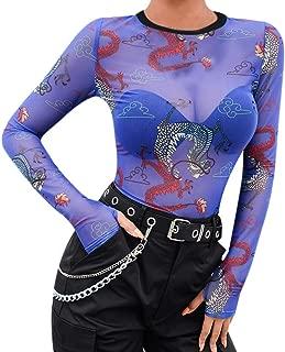 poedkl Women Blouse Tops Long Sleeve Dragon Pattern Print Thumb Buckle Mesh Mesh Perspective