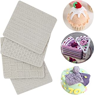 (Set of 4)Fondant Impression Mat, Knitting Sweater & Crochet Texture Embossed Design- Silicone-Cake Decorating Supplies for Cupcake Wedding Cake Decoration
