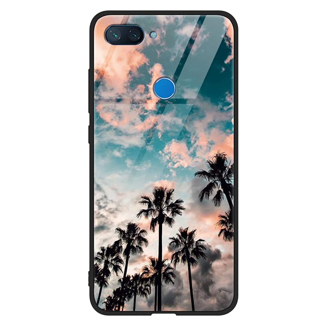 Eouine Xiaomi Mi 8 Lite Case, [Anti-Scratch] Shockproof Patterned Tempered Glass Back Cover Case with Soft Silicone Bumper for Xiaomi Mi 8 Lite Smartphone (Coconut Tree)