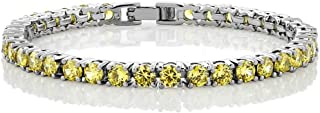 12.00 Ct Round Cut Canary Yellow Cubic Zirconias CZ 7inches Tennis Bracelet 7 Inch