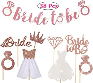 Rose gold flash bridal bunting with rose gold diamond, crown, bridal, 3D tulle dress cupcakes decorated bridal shower supplies, wedding engagement, bachelorette party decorations