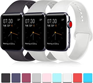 Pack 3 Compatible with Apple Watch Bands 38mm 40mm 42mm 44mm, Soft Silicone Band..