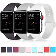Pack 3 Compatible with Apple Watch Band 38mm 40mm 42mm 44mm, Soft Silicone Band Replacement for...