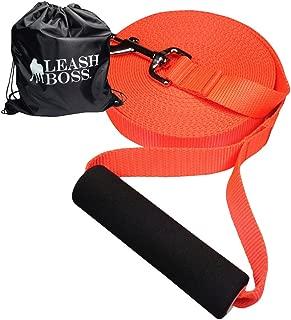 Leashboss Free Range Dog Training Leash for Large Dogs - 1 Inch Heavy Duty Nylon Extra Long Training Lead with Padded Handle (Bright Orange)