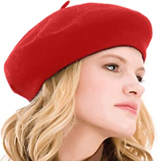 Kimming Womens Beret 100% Wool French Beret Solid Color Beanie Cap Hat dd5882dfc680