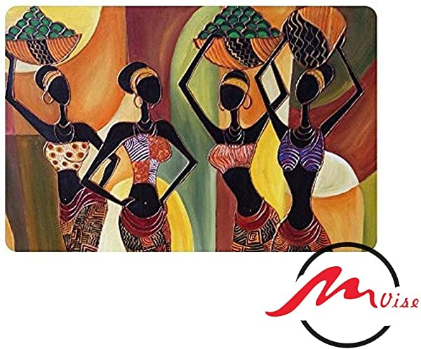 ZMvise Oil Painting Art African Woman Non Slip Bath Shower Area Rug Floor Door Mats Front Entry Carpet Indoor Doormat Outdoor Felt