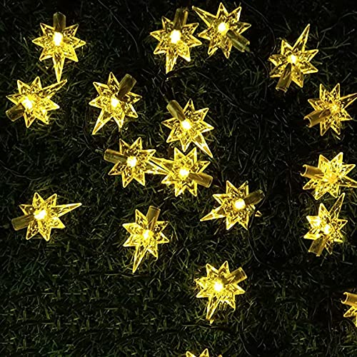 Guirnaldas Luces Exterior Solar Luces de Cadena Impermeable al Aire Libre con energía Solar, para decoración navideña, jardín, Patio, Fiesta, Bodas (Blanco cálido) Luces Exterior (Size : 20lights)