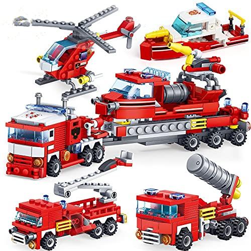 WSKL 348 Piezas de Lucha contra Incendios 4 en 1 Camiones Coche helicóptero Ladrillos Juguetes para niños Bloques de construcción de Barcos Bombero de la Ciudad