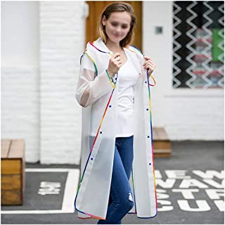 WHPSTZ Raincoat Portable Transparent Raincoat Poncho with Cover and Sleeves for Adults to Reuse Raincoat (Color : White, Size : L)