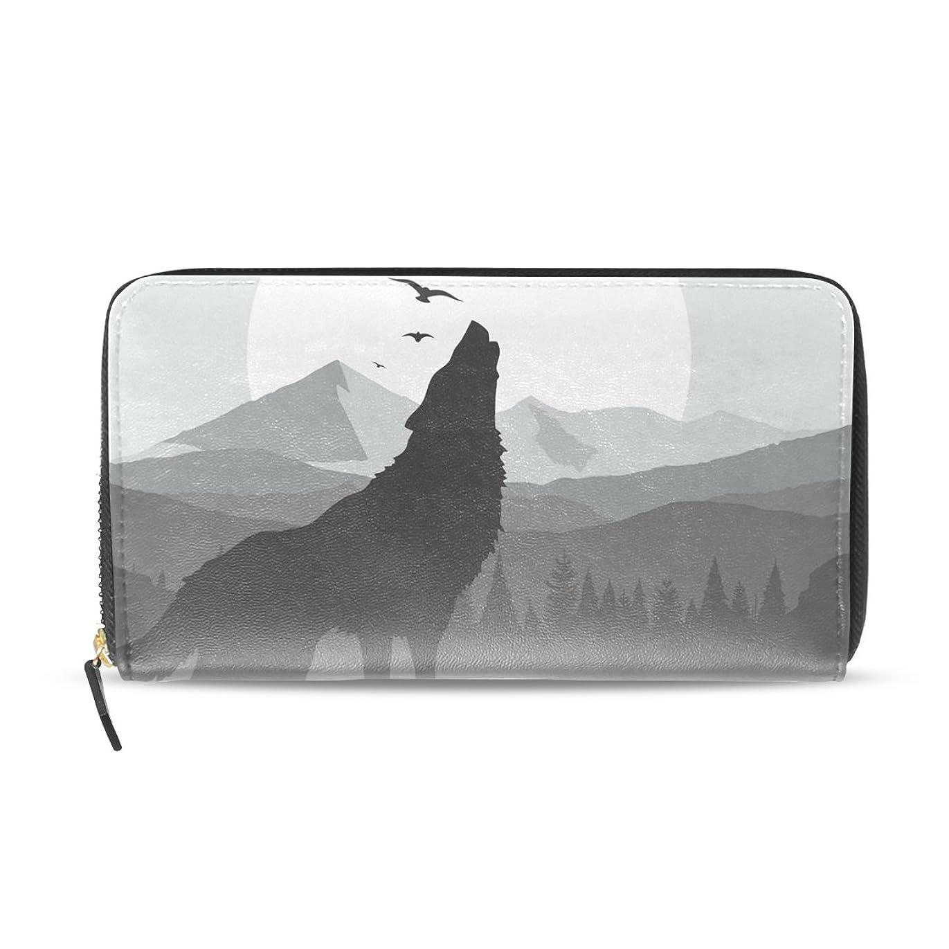 大腿結晶スリップシューズAOMOKI 長財布 財布 レディース 大容量 PUレザー 幅20*丈11cm 灰色 オオカミ 日 山