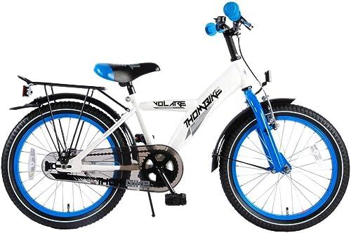 .Thombike Kinderfürrad Jungen 18 Zoll Gep tr r Weiß Blau 95% Zusammengebaut
