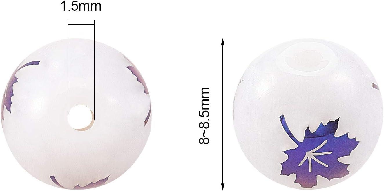 UR URLIFEHALL 300pcs esmerilado redondo con patr/ón electrochapa de vidrio 8mm para joyer/ía