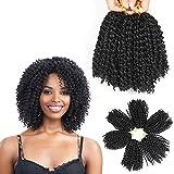 8 Inch Short Marlybob Crochet Hair 6 Bundles Short Passion Twist Hair Kinky Curly Crochet Hair Kinky Twist Crochet Hair Jerry Curl Crochet Hair Kinky Crochet Hair Braids Curly Crochet Hair For Black Women (1B#)
