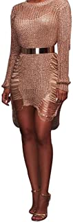 meiguiyuan Fashion Bandage Mini Dress Long Sleeve Sexy Mini Club Dress Women Knitted Sweater Dress