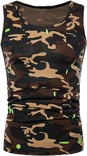 Liebeye ベスト メンズフィットネスベスト メンズファッションノースリーブセーターラウンドネックカモフラージュシンプルフィットネスベスト