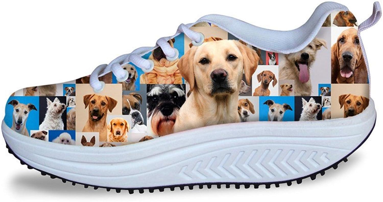 Chaqlin Non-Slip Daily Walking Sneaker Cute Dog Printing Mesh Female Footwear Lacing Rocking Platform Wedges US 7
