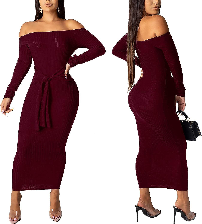 SheKiss Women's Off Shoulder Long Sleeves Bodycon Sweater Dress Sexy Knit Slim Cardigans