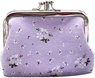 toataLOpen Fashion Lady Purse, Coin Purse Cute Women Floral Printed Double Pockets Kiss Lock Mini Clutches Wallet, Earphone Holder Cable Storage Bag Purple