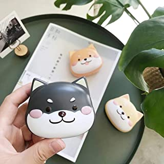 2 Pack Cute Contact Lens Cases, Shiba Inu Contact Lens Soak Storage Box, Portable Pink Contact Lens Holder with Tweezers for Travel Kit (Black)