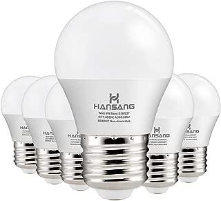 Hansang A15 LED Bulb Light 6 Watt (60w Equivalent),E26 Standard Base,5000K Daylight,600 Lumens,Frosted G45/A15 Bulb Shape,CRI>83,Ceiling Fan Light Bulb,Home Appliance Bulb,No Dimmable (6 Pack)