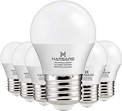 Hansang A15 LED لامپ 6 واتی (60w Equivalent) ، پایه استاندارد E26 ، 5000K روز ، 600 لومن ، شکل لامپ یخ زده G45 / A15 ، CRI> 83 ، لامپ فن سقفی سقفی ، لامپ لوازم خانگی ، بدون ابعاد (6 بسته)