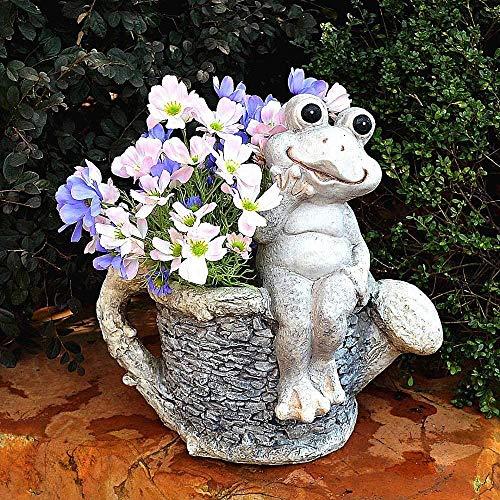 CXKJ Statue Garden Decorations Animal Outdoor Statue Garden Yard Patio Frog Planter Plant Flower Pot Nest Ornament Decoration