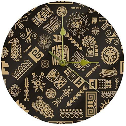 LKLFC Reloj de Pared Silencioso Indio Patrón geométrico étnico Decorativo Sin tictac Reloj silencioso Moderno Vintage para Regalo Hogar Oficina Cocina Vivero Sala de Estar Dormitorio 25cm