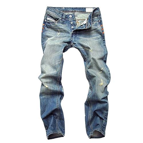 1fa269ffee86 DianShao Homme Stonewash Jean Déchiré Classique 5 Poche Décontractée Denim  Pantalon
