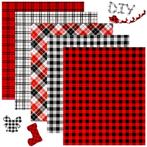 Colovis Christmas Buffalo Plaid Heat Transfer Vinyl Sheet 5 pcs 12 x 10inch Iron on Fabric adhensive HTV Vinyl Bundle for Cutting Machine or Home Iron for DIY T-Shirt Craft Material