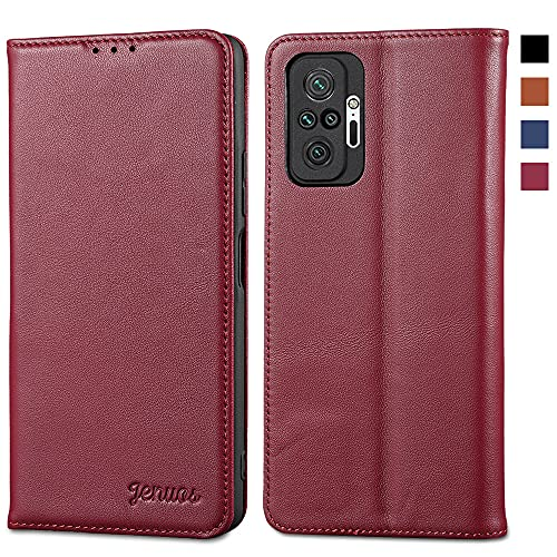 Jenuos für Redmi Note 10 Pro Hülle Leder,Xiaomi Redmi Note 10 Pro Max Handyhülle Klappbar Schutzhülle Flip Cover mit [Magnetic Closure] [Card Slot] [Kickstand] -Wein Rot(MN10P-PD-WR)