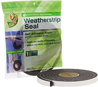 Duck Brand Self Adhesive Foam Weatherstrip Seal for Extra Large Gaps, 3/4-In x 1/2-In x 10-Ft, 1 Roll, 284426