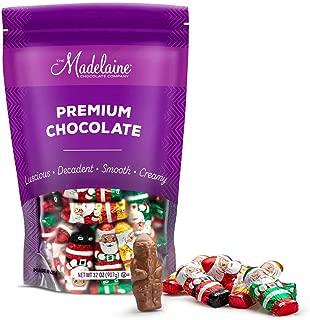 (2 LB) Madelaine Solid Premium Milk Chocolate Mini Santas Wrapped In Italian Foil Featuring Assorted Designs - (Bulk Pack))