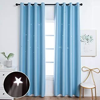 Unistar 2 Panels Stars Blackout Curtains for Bedroom Girls Kids Baby Nursery Curtain Aesthetic Living Room Decor Window Wa...