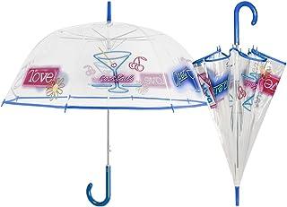 PERLETTI 25997 Lady 61/8 - Paraguas con Forma de cúpula de Auto, Transparente, diseño de cócteles, Resistente al Viento