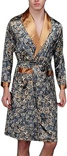 ouxiuli Mens Loose Plush Spa Robe Fleece Kimono Long Bathrobe