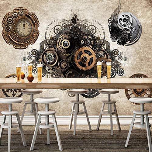 XLXBH 3D-behang zelfklevend wandschilderij fotobehang retro industrieel metaal gear 3D behang bar café achtergrond wandklok slaapkamer kledingwinkel behang wandschilderij kinderkamer kantoor eetkamer wo 520x290 cm (BxH) 11 Streifen - selbstklebend