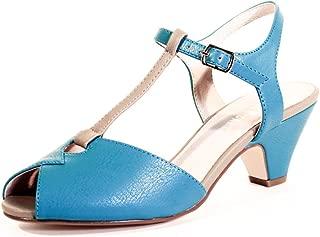 Kaela, Mid-Heel, T-Strap, Vintage-Inspired Sandals, Teal/Tap