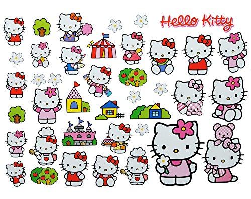 alles-meine.de GmbH 40 TLG. XL Set: Fensterbilder / Sticker - Hello Kitty - Fensterbild Aufkleber für Kinderzimmer Mädchen Katze Blumen - Wandtattoo Wandsticker