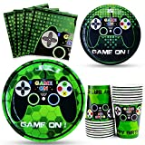 WERNNSAI Video Game Party Tableware Set - Gaming Party Supplies for Boys Birthday Disposable Paper Luncheon Dinner Dessert Plates Cups and Napkins Party Favors Serves 16 Guests 64 PCS