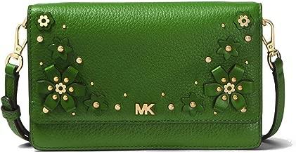 MICHAEL MICHAEL KORS Mercer Floral Embellished Pebbled Leather Smartphone Crossbody