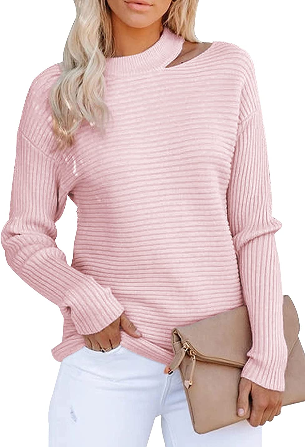 KIRUNDO 2021 Women's Sweaters Halter Neck Off Shoulder Long Sleeves Knit Sweater Loose Solid Pullovers Tops