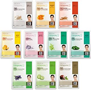 DERMAL Variety Korea Collagen Essence Full Face Facial Mask Sheets - Pack of 10 Pieces