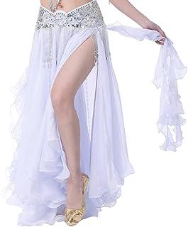 YuanDian Damen Chiffon Einfarbig Professionelle Tänzerin Bauchtanz Spliss Öffnungs Swing Long Rock Tanzkostüm Bauch Dance Kleid Nicht inbegriffen ist Gürtel