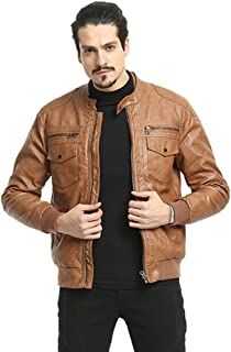Men's Leather Jacket, PUREMSX Smooth Lamb Faux Leather Short Quilted Bomber Coat