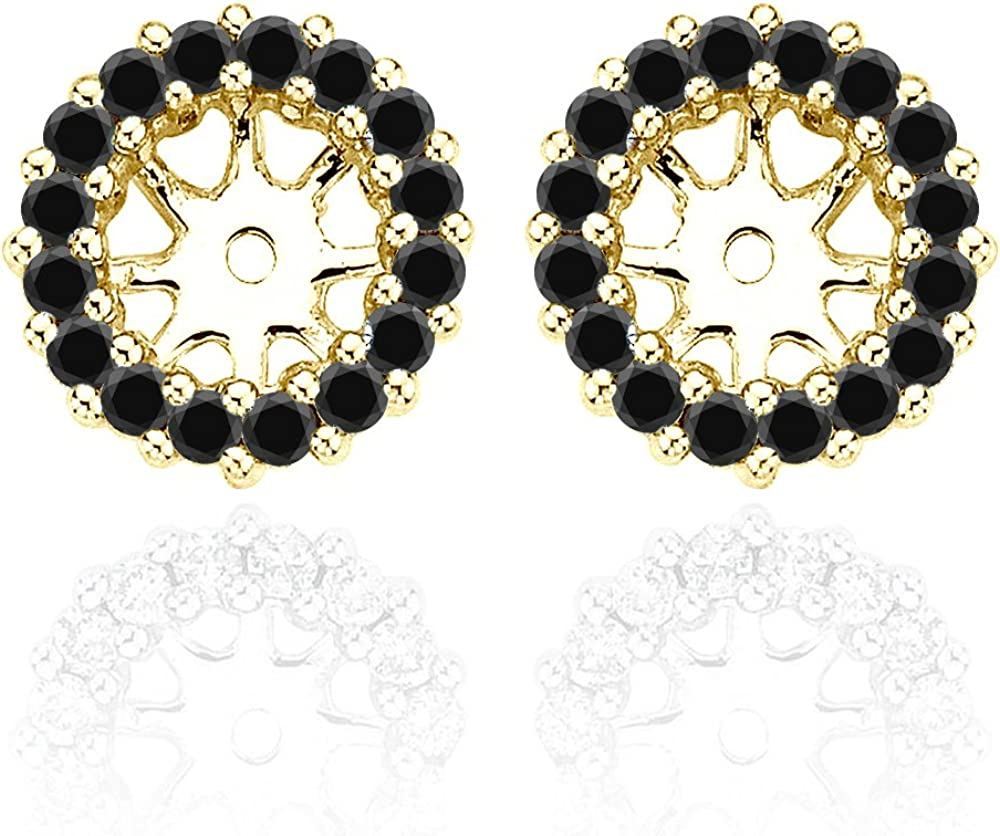 0.44 Carat Black Diamond Earrings Jackets For 4 MM(0.50 Carat Total Weight) 14K Yellow Gold Halo Stud Solitaire