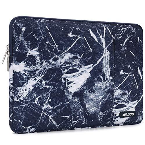 MOSISO Laptophülle Kompatibel mit 13-13,3 Zoll MacBook Air, MacBook Pro, Notebook Computer, Polyester Wasserabweisend Vertikale Stil Sleeve Hülle Laptoptasche Notebooktasche, Navy Blau Marmor