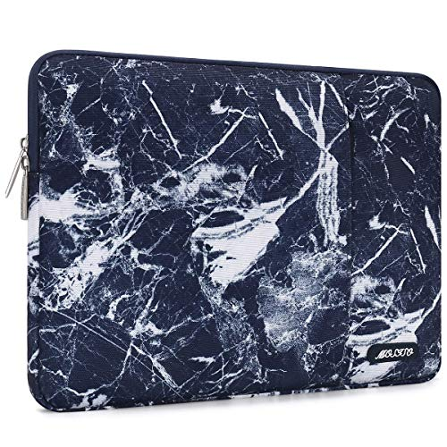 MOSISO Laptop Sleeve Bag Compatible with 13-13.3 inch MacBook Pro, MacBook Air, Notebook Computer, Vertical Style Water Repellent Polyester Protective Case Cover with Pocket, Navy Blue Marble