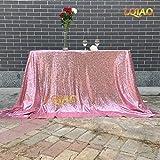 WJDHSG tovaglie 18 Colori 225cmX330cm Tovaglia con Paillettes Argento Glitter 90x132 Pollici Tovaglia per Matrimoni Decorazione Rettangolo Tovaglia con Paillettes, Oro Rosa, 90x132in, W225xL330cm