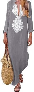 Asskdan Women's Floral Printed Cotton Linen Long Sleeve Solid Loose V Neckline Boho Long Dress Kaftan Casual Dress